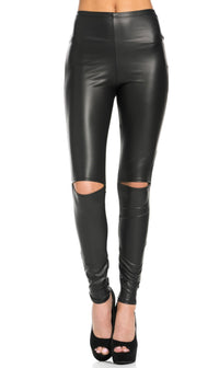 Knee Slit Faux Leather Leggings in Black (Plus Sizes Available) - SohoGirl.com