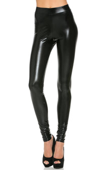 Everyday Faux Leather Leggings in Metallic Black - SohoGirl.com