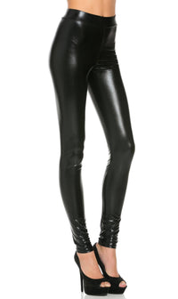 Everyday Faux Leather Leggings in Metallic Black