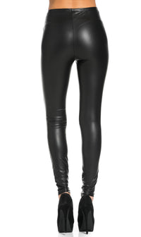 Knee Slit Faux Leather Leggings in Black (Plus Sizes Available)