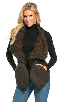 Draped Sleeveless Faux Fur Wool Vest in Olive - SohoGirl.com