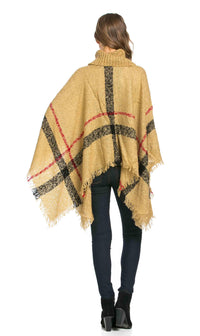 Jumbo Plaid Cowl-neck Poncho Sweater in Beige