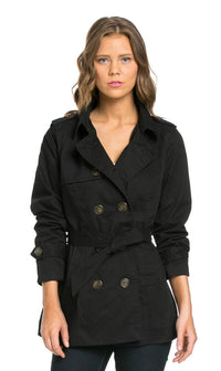 Double Breasted Peacoat Jacket in Black