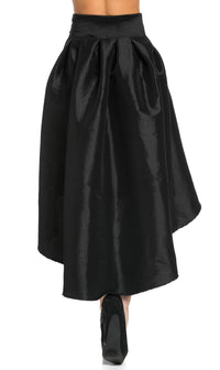 High-Low Taffeta Pleated Midi-Skirt in Black - SohoGirl.com