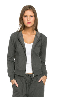 Classic Zip Up Jogger Hoodie in Charcoal - SohoGirl.com
