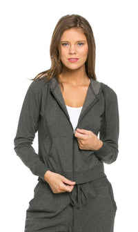 Classic Zip Up Jogger Hoodie in Charcoal
