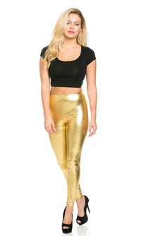 Everyday Faux Leather Leggings in Gold - SohoGirl.com