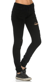 Classic Destructed Skinny Jeans in Black (Plus Sizes Available) - SohoGirl.com