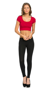 Basic Cotton Leggings in Black (Plus Sizes Available)