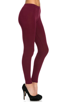Basic Cotton Leggings in Burgundy (Plus Sizes Available) - SohoGirl.com