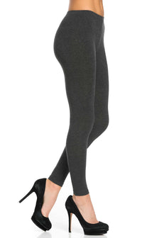 Plus Size Basic Cotton Leggings in Grey