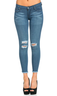 Distressed Ankle Cut Skinny Jeans (Plus Sizes Available) - SohoGirl.com