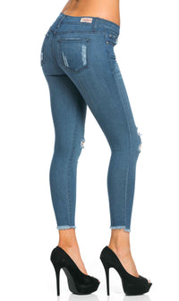 Distressed Ankle Cut Skinny Jeans (Plus Sizes Available)
