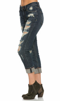 Cuffed and Destructed Boyfriend Jeans in Dark Wash (Plus Sizes Available) - pallawashop.com