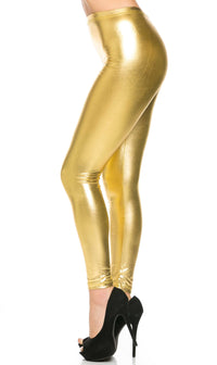 Everyday Faux Leather Leggings in Gold