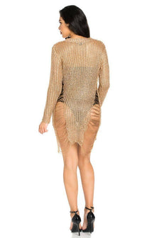Metallic High-Low Distressed Sweater Dress in Rose Gold