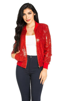 All Over Sequin Bomber Jacket in Red - SohoGirl.com