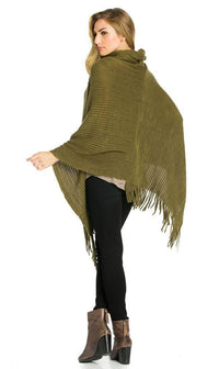 Solid Ribbed Cowl Neck Poncho in Olive