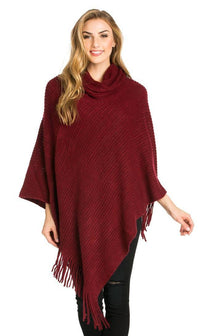 Solid Ribbed Cowl Neck Poncho in Burgundy