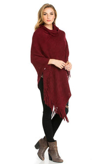 Solid Ribbed Cowl Neck Poncho in Burgundy - SohoGirl.com