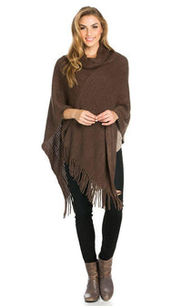 Solid Ribbed Cowl Neck Poncho in Brown - SohoGirl.com