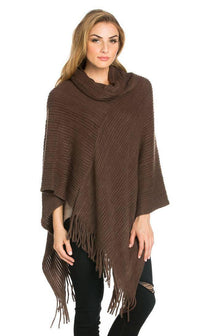 Solid Ribbed Cowl Neck Poncho in Brown