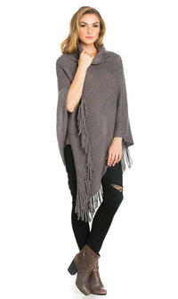 Solid Ribbed Cowl Neck Poncho in Gray - SohoGirl.com