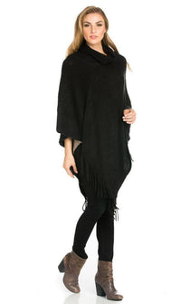 Solid Ribbed Cowl Neck Poncho in Black