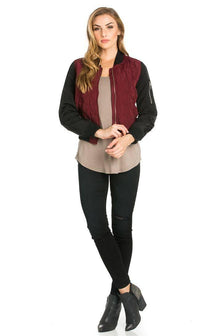 Two-Tone Quilted Bomber Jacket in Burgundy - SohoGirl.com