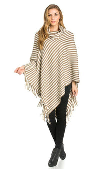 Striped Cowl Neck Fringed Poncho in Beige - SohoGirl.com