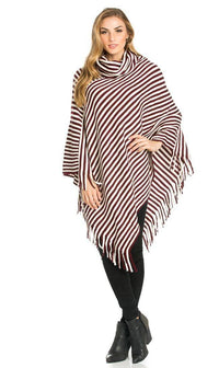 Striped Cowl Neck Fringed Poncho in Burgundy - SohoGirl.com