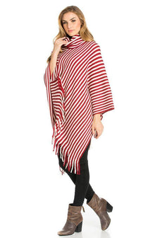 Striped Cowl Neck Fringed Poncho in Red