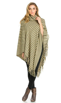 Striped Cowl Neck Fringed Poncho in Olive