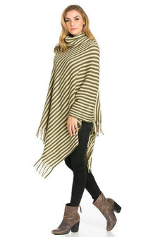 Striped Cowl Neck Fringed Poncho in Olive - SohoGirl.com