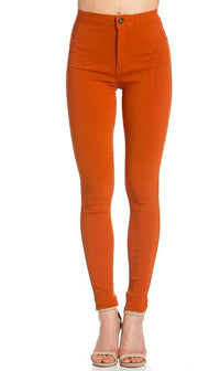 Super High Waisted Stretchy Skinny Jeans - Rust (S-XL)