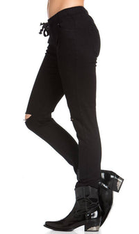 American Bazi Knee Slit Jogger Pants in Black - SohoGirl.com