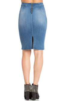 High Waisted Distressed Denim Pencil Skirt in Dark Blue
