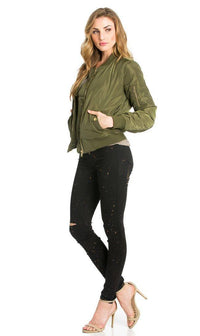 Olive Puffy Solid Ruched Detail Bomber Jacket - SohoGirl.com