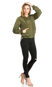Olive Puffy Solid Ruched Detail Bomber Jacket