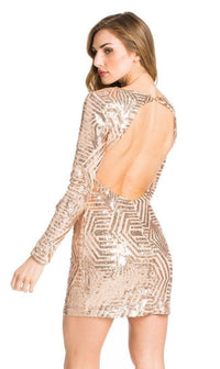 Rose Gold Geo Pattern Sequin Open Back Dress