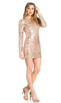 Rose Gold Geo Pattern Sequin Open Back Dress - SohoGirl.com