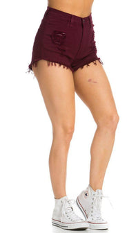 Ripped Up High Waisted Denim Shorts in Burgundy