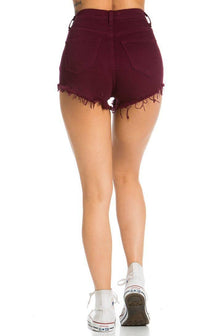 Ripped Up High Waisted Denim Shorts in Burgundy - SohoGirl.com