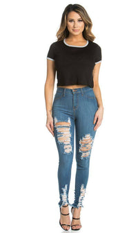Vibrants Jeans - High Waisted Distressed Stretchy Ripped Jeans