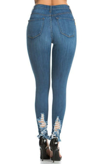 Vibrants Jeans - High Waisted Distressed Stretchy Ripped Jeans - SohoGirl.com
