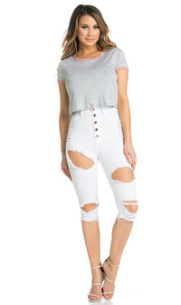 Five Button Distressed High Waisted Stretchy Bermuda Shorts in White - SohoGirl.com