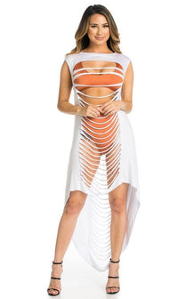 White Laser Cut High Low Cover Up