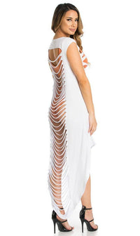 White Laser Cut High Low Cover Up - SohoGirl.com