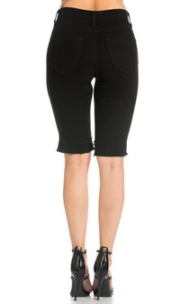 High Waisted Shredded Cut Off Bermuda Shorts in Jet Black - SohoGirl.com