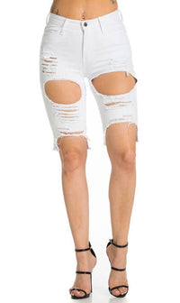 High Waisted Shredded Cut Off Bermuda Shorts in White - SohoGirl.com